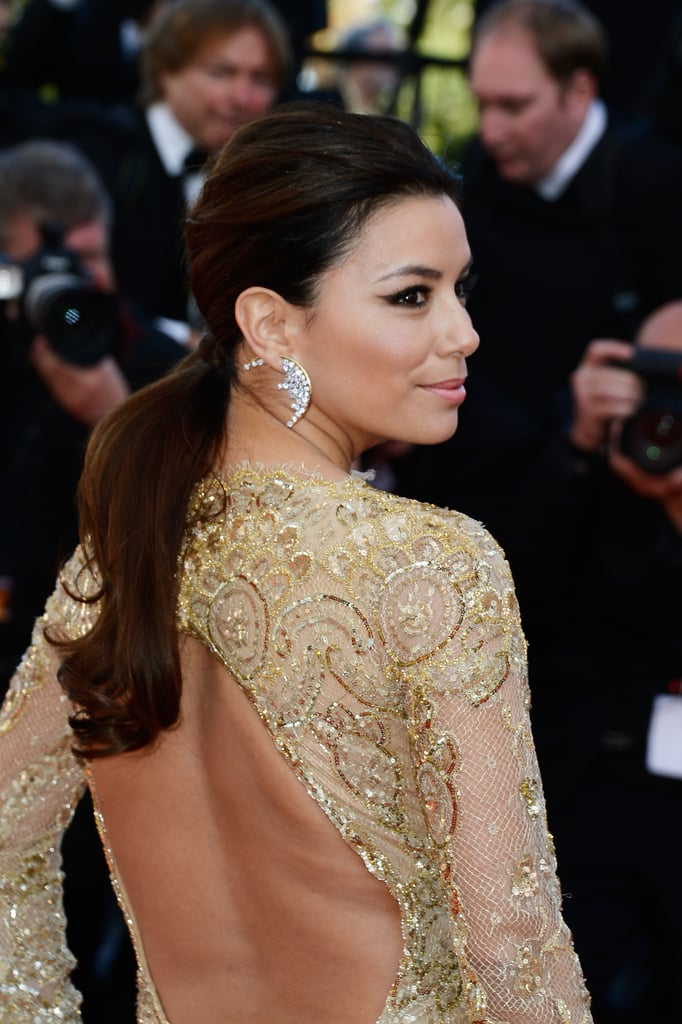 Eva Longoria's low ponytail at the Le Passe premiere in Cannes had plenty of volume thanks to her waves.