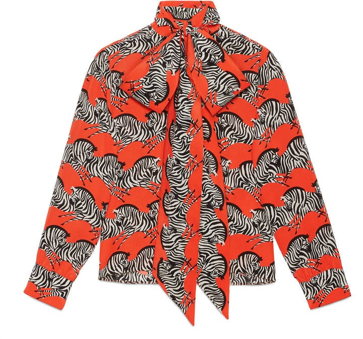 52a3909f540bb1 The voluminous pussy-bow on Gucci's zebra-print neck bow shirt ($4,355)