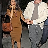 Francois-Henri Pinault showed Salma Hayek affection after leaving the Little Door club.