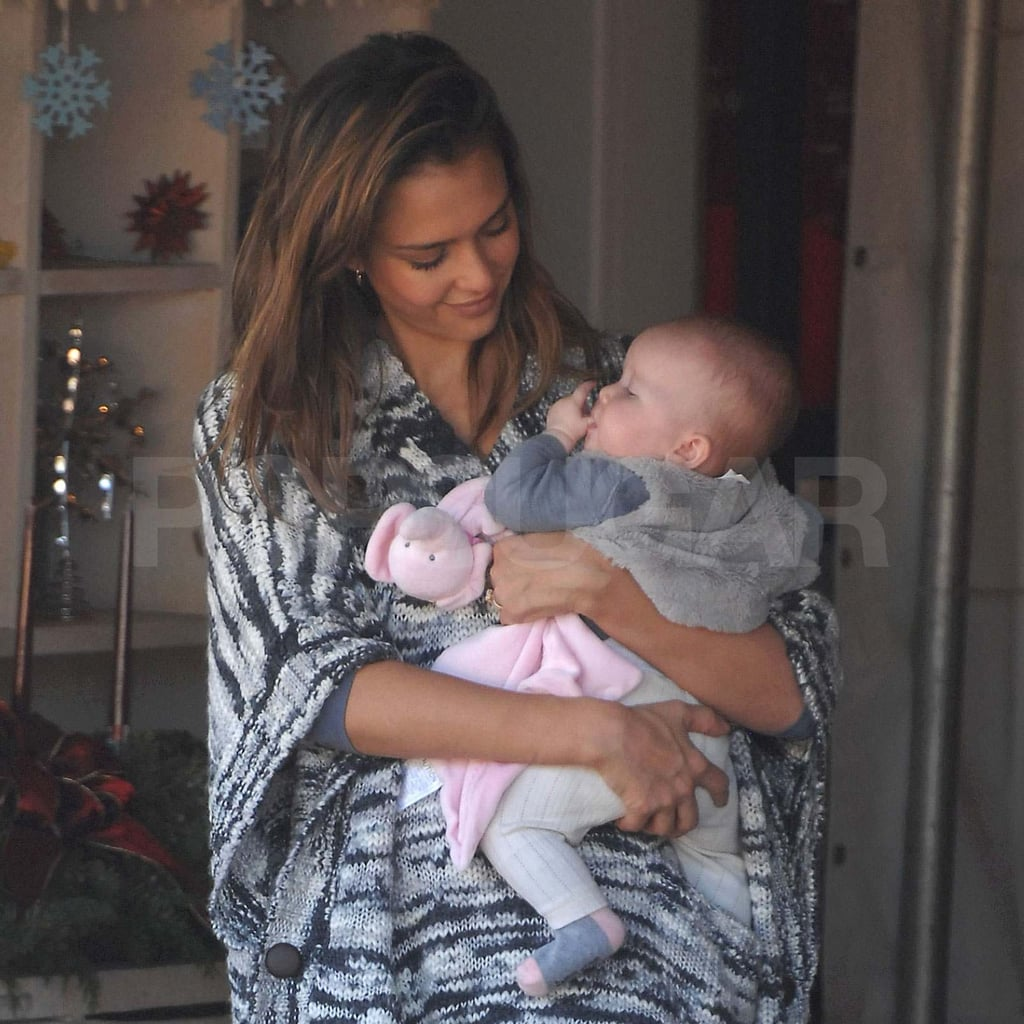 Jessica Alba carrying Haven at the Christmas tree farm.   Jessica ...