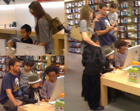 Photos of Angelina Jolie and Doug Pitt Shopping For Apple Gear