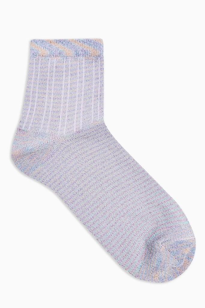 Topshop Lilac Ribbed Glitter Socks