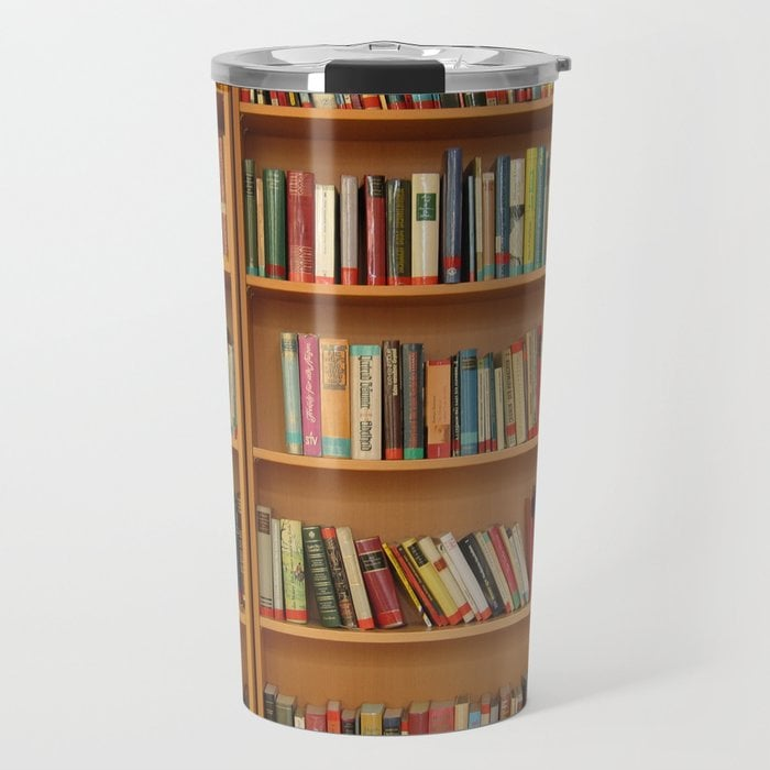 Bookshelf Books Library Bookworm Reading Travel Mug
