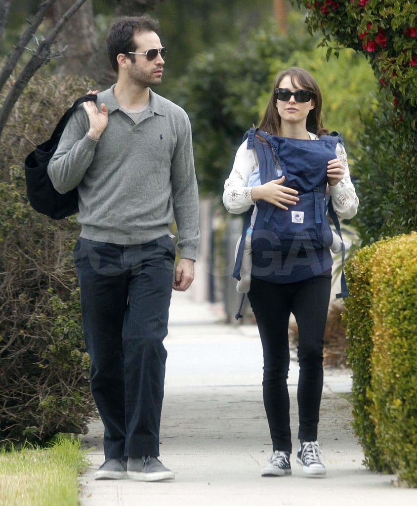 Natalie Portman and her fiancé Benjamin Millepied brought their seven-month-old son Aleph to visit friends in Santa Monica on Saturday. The family of three later stopped by a local park, where Benjamin and Aleph checked out the sandbox. It was a casual outing ahead of Natalie and Benjamin's turn on the red carpet at last night's Golden Globe Awards. Natalie wowed in a pink Lanvin gown as she arrived with Benjamin by her side to the show, where she presented the statue for best actor. The honor went to George Clooney for The Descendants, closing out the big event before the stars continued the fun at parties around the Beverly Hilton Hotel.