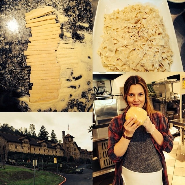 Drew got to work making fresh pasta.  Source: Instagram user drewbarrymore