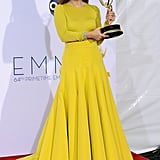 Emmy winner Julianne Moore held up her award after the show.