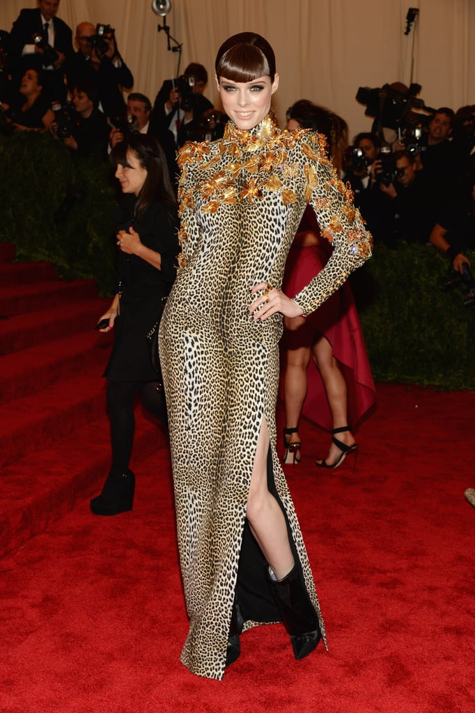 Coco Rocha took a walk on the wild side in a long-sleeved leopard Ungaro by Fausto Puglisi gown with dragonfly detailing along the top.