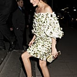She Played Up the Neutral Tones in Her Dress With Olivia Palermo x Aquazzura Strappy Heels