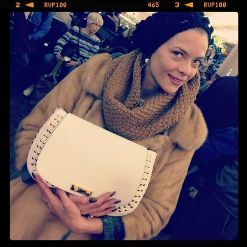 Jaime King showed off her new Marni clutch. Source: Twitter user Jaime_King