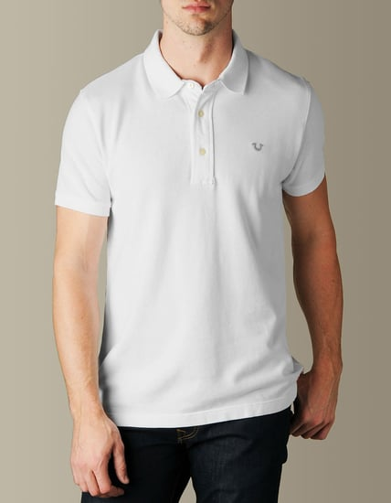 Mens Logo Embroidered Pique Polo
