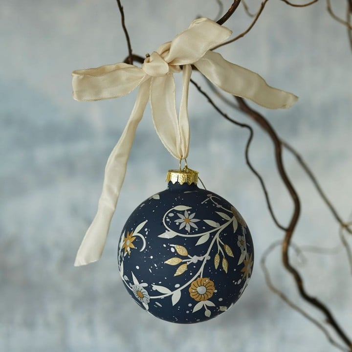 Graham and Green Flowered Glass Bauble (£8)