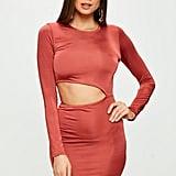 Missguided Red Slinky Long Sleeve Cutout Mini Dress