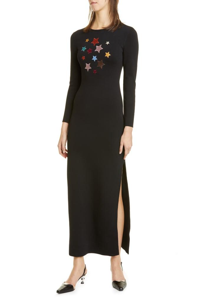 Staud Aries Star Appliqué Knit Long Sleeve Maxi Dress
