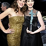 Jennifer Garner and Anne Hathaway buddied up inside.