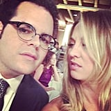 Kaley Cuoco gave Josh Gad the stink eye on the set of their film, The Wedding Ringer. Source: Instagram user normancook