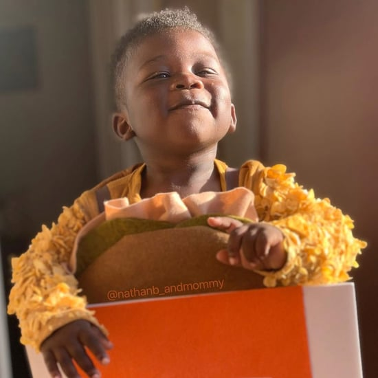 Mom Dressed Son as Popeyes Chicken Sandwich For Halloween