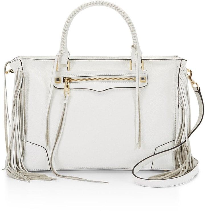 Rebecca Minkoff Regan Fringe Satchel Tote Bag, White ($375)