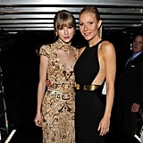 Gwyneth met up with her friend Taylor Swift backstage at the Grammys in LA in February 2012.