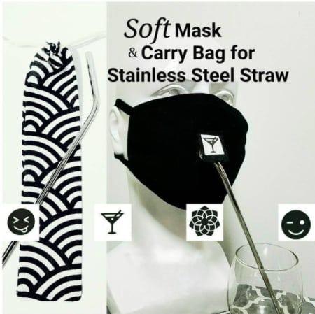Face Mask with Straw Hole and Stainless Steel Straw