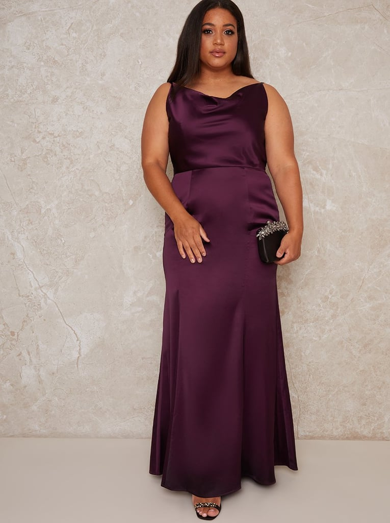 Chi Chi London Plus Size Satin Slip Cowl Back Maxi Dress in Purple