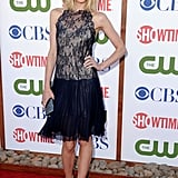 Jamie King in a Valentino dress and beige Christian Louboutin Lucifer pumps.