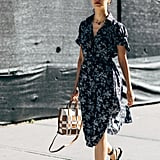 Carolina Issa works her bohemian breezy dress with a mini tote bag, layered necklaces, and gladiator sandals.
