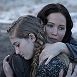 Jennifer Lawrence as Katniss and Willow Shields as Prim in Catching Fire.