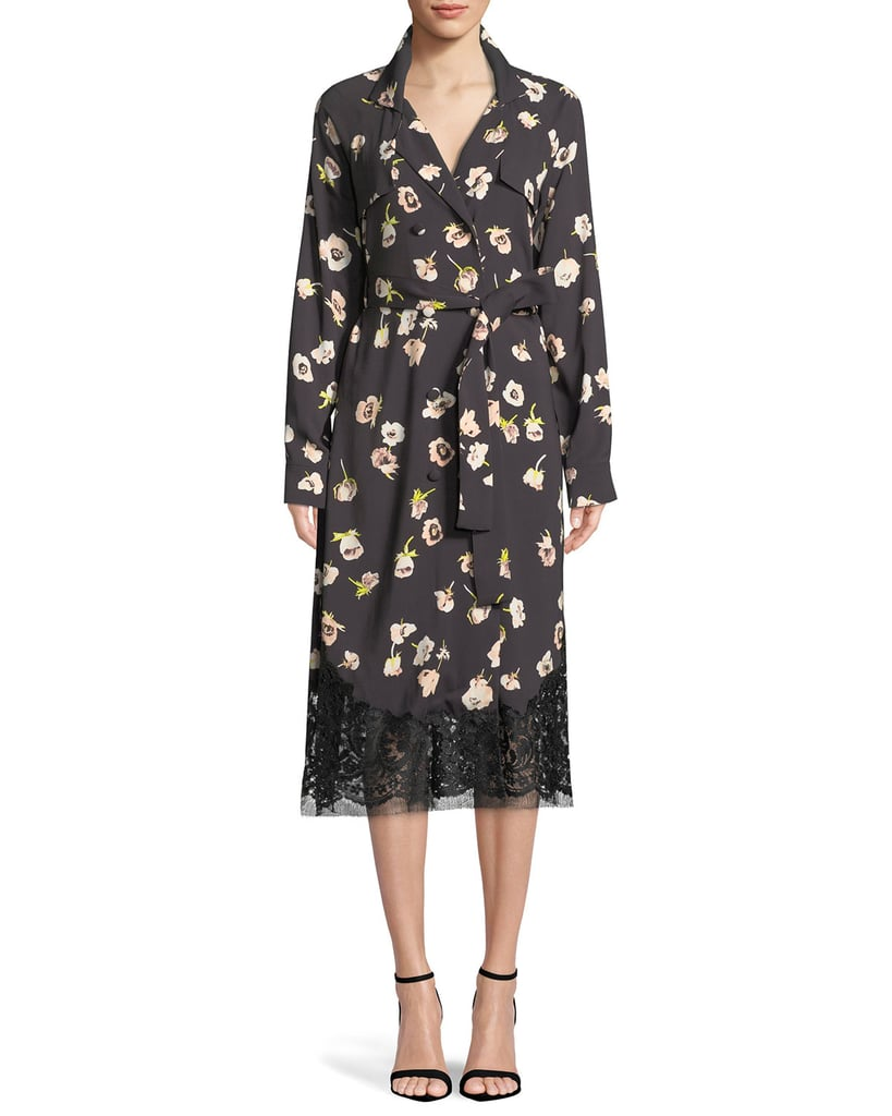 b061b4689d Lela Rose Double-Breasted Floral-Print Wrap Dress with Lace Hem ...