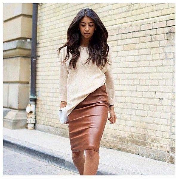 560eeaf7c3 A Jumper and Leather Skirt   43 Outfits Everyone Loves on Pinterest ...