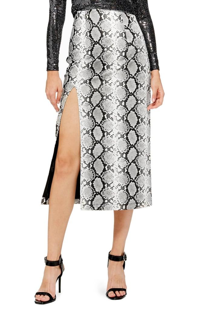 4d05303c27 Kim Kardashian Snakeskin Skirt With Sisters Out to Dinner   POPSUGAR Fashion