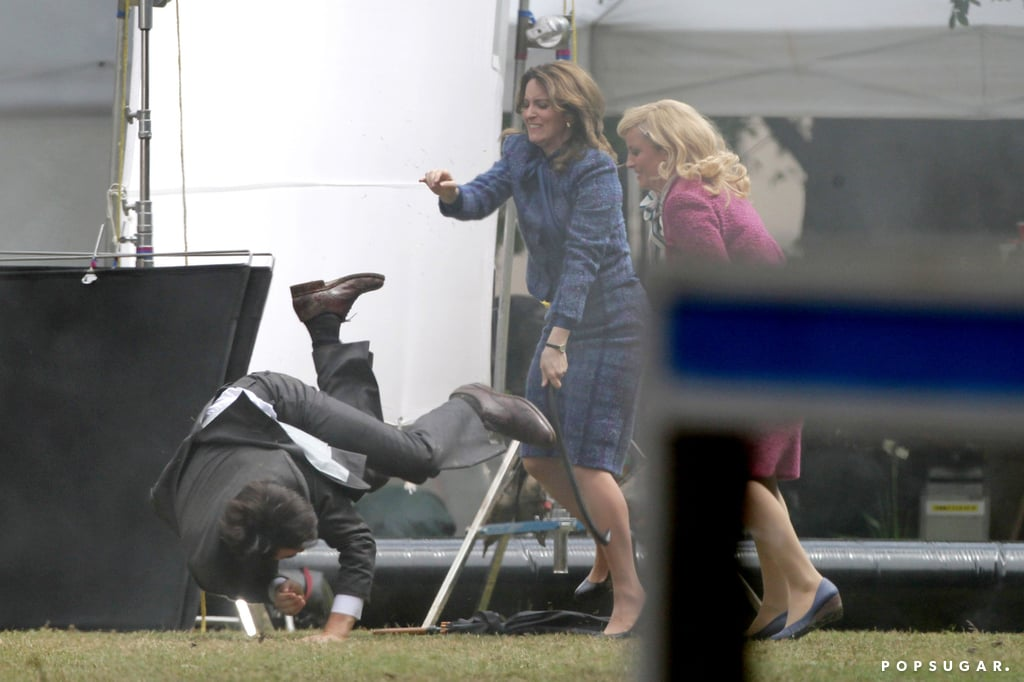 Tina Fey and Amy Poehler Beat Up Sacha Baron Cohen on Star-Studded Anchorman Set