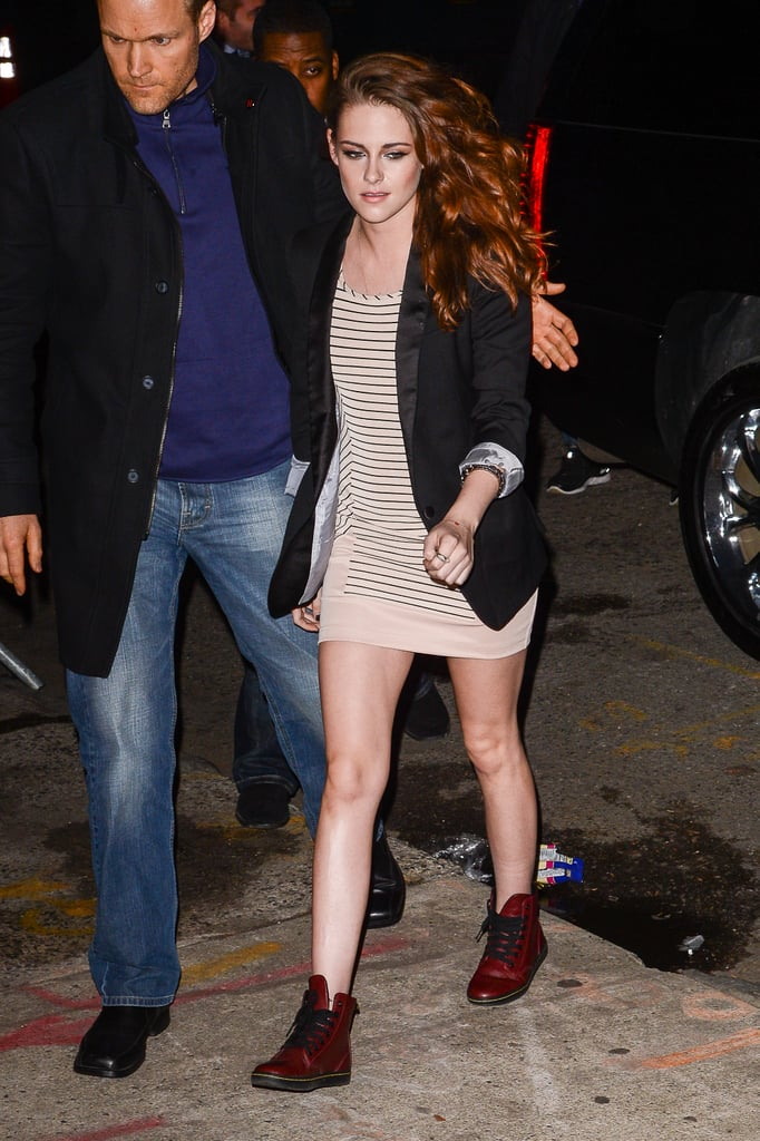 Kristen Stewart traded her Converse for Doc Martens and styled up a cool-girl play on stripes and a miniskirt while out in NYC.