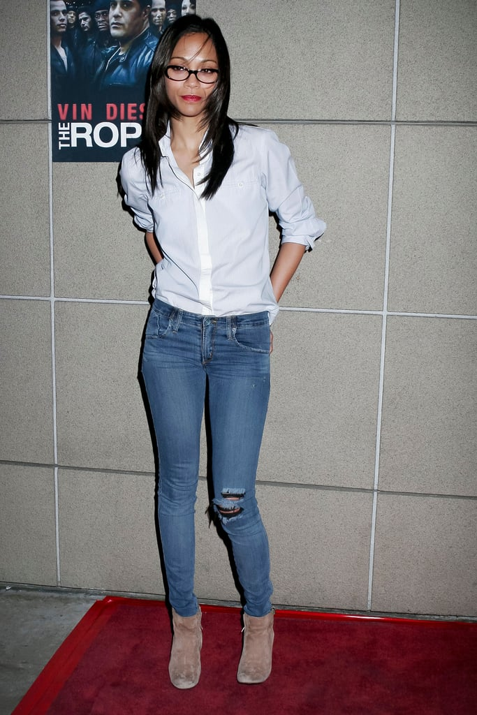 Zoe Saldana schooled us in closet essentials, opting for a classic button-down and skinny-fit jeans.
