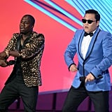 "Nelly Furtado, Robbie Williams, Simon Pegg, Vanessa Hudgens, Tom Cruise, T-Pain, LMFAO and Chelsea Handler are just some of the stars who've expressed their love for ""Gangnam Style"", and PSY appeared on stage with Kevin Hart at the 2012 MTV VMAs last week. PSY himself even taught Britney Spears how to do the famous dance moves!"