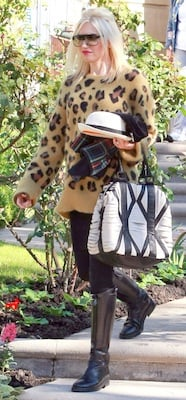 Gwen Stefani With Black and White Leather LAMB Bag