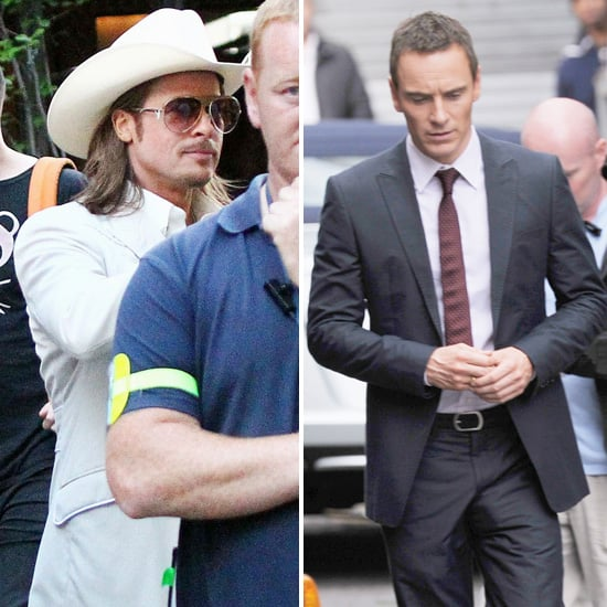 Brad Pitt Debuts a Shiner on Set With Michael Fassbender