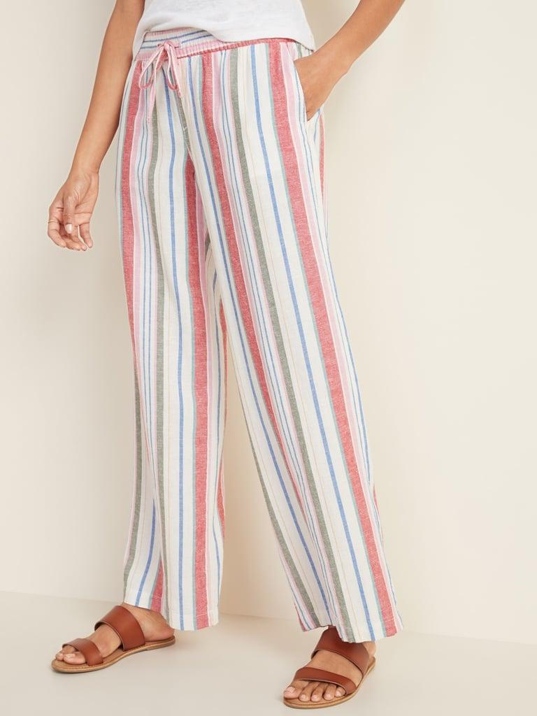 Old Navy Mid-Rise Wide-Leg Linen-Blend Pull-On Pants in Multi Stripe