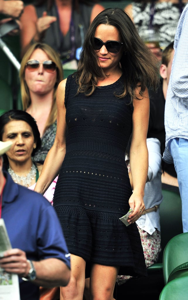 Pippa Middleton and boyfriend Alex Loudon checked out the action at Wimbledon earlier this week, but today she was solo to watch the semifinal match between Jo-Wilfried Tsonga and Novak Djokovic. Pippa Middleton's dress was a slightly risqué one, with bits of skin showing through the crochet. It's been a big week of date days and nights for Pippa as she and Alex enjoyed watching tennis. Even Pippa's sister, Kate Middleton, turned out to see what was going on in the stands. Kate is now off in Canada on her first official tour as a royal. Kate Middleton and Prince William are currently in Ottawa, where they're celebrating Canada Day with a variety of events.