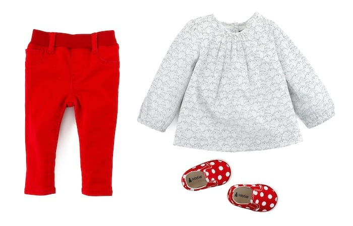 Legging Jeans ($25) , Printed Tunic ($27), Polka-Dot Shoe ($20)