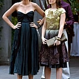Serena van der Woodsen Wearing a Black Sweetheart Neckline Dress