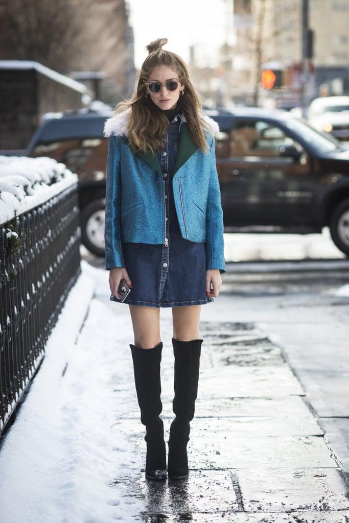 Chiara Ferragni wearing a Rodarte jacket and Céline sunglasses.