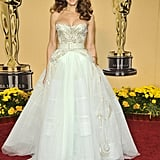 For the 2009 Academy Awards, SJP had a princess moment donning a voluminous, barely mint Christian Dior Haute Couture with a gold embellished bodice and wide belt.