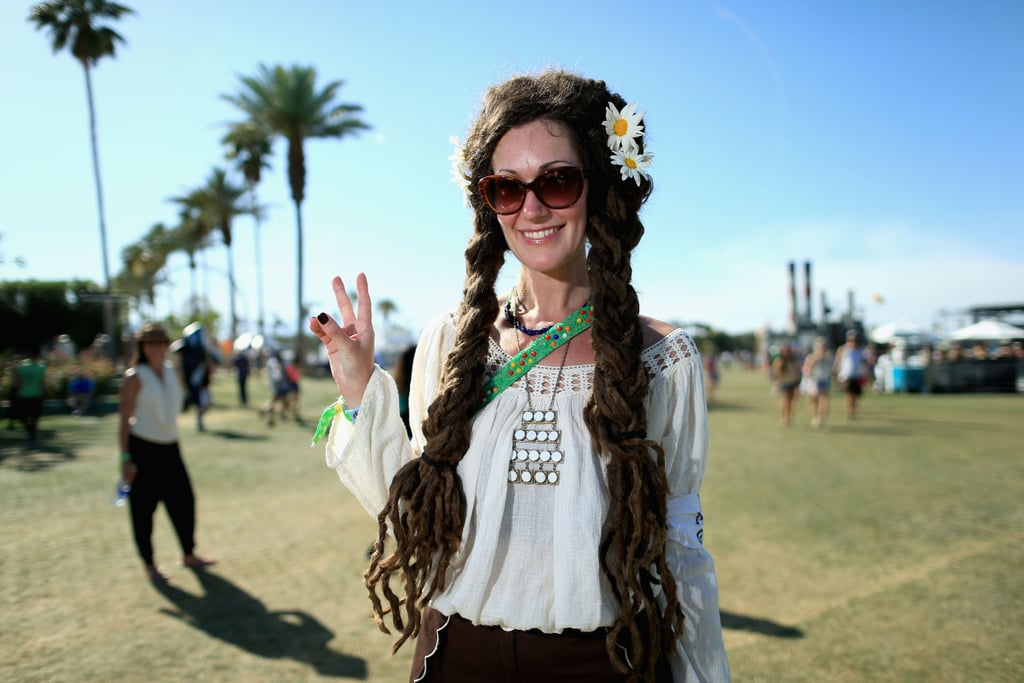 This festivalgoer's modern hippie look was amazing, especially those braided dreads.