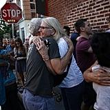 People hugged . . .