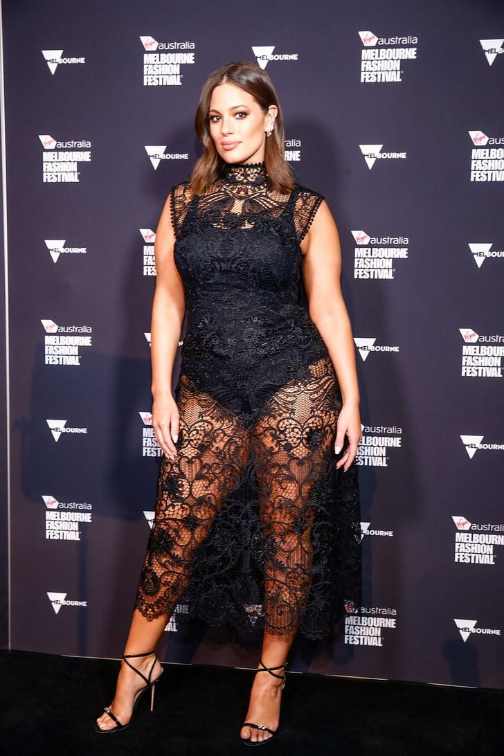 Ashley Graham Black Lace Midi Dress Popsugar Fashion Photo 2