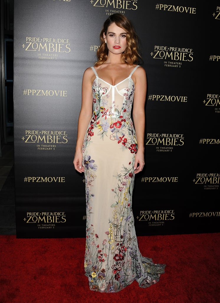 Lily James Wearing Floral Alexander Mcqueen Dress