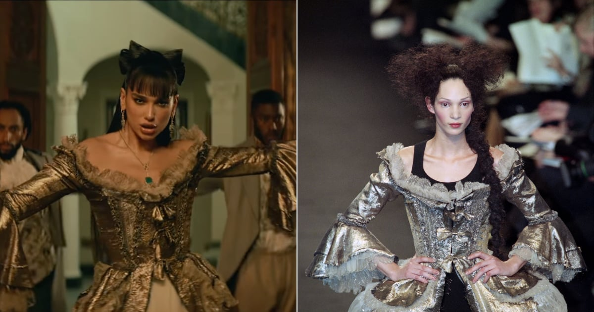 """The Story Behind Dua Lipa's Costume in """"Demeanor"""" Makes That Gold Corset Even More Luxe.jpg"""
