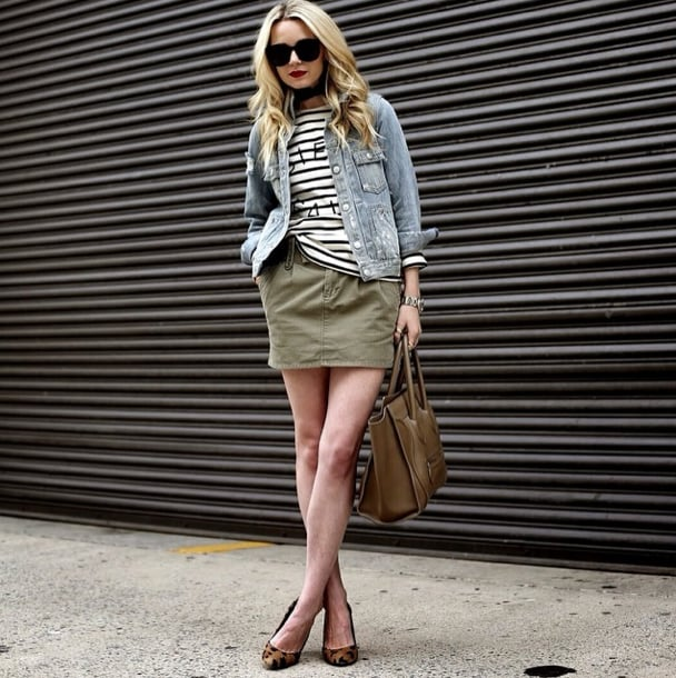 Add interest to your stripes with layers and a pop of print. See how subtly Blair Eadie works it into the mix with a jean jacket, army-hued skirt, and a pair of leopard-print heels? Source: Instagram user blaireadiebee