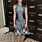Learn from the figure-flattering Bibhu Mohapatra dress Emmy Rossum chose for Variety's Emmy event! Those side panels make her waist look tiny, and she keeps the larger print on bottom, where the dress naturally flares out.
