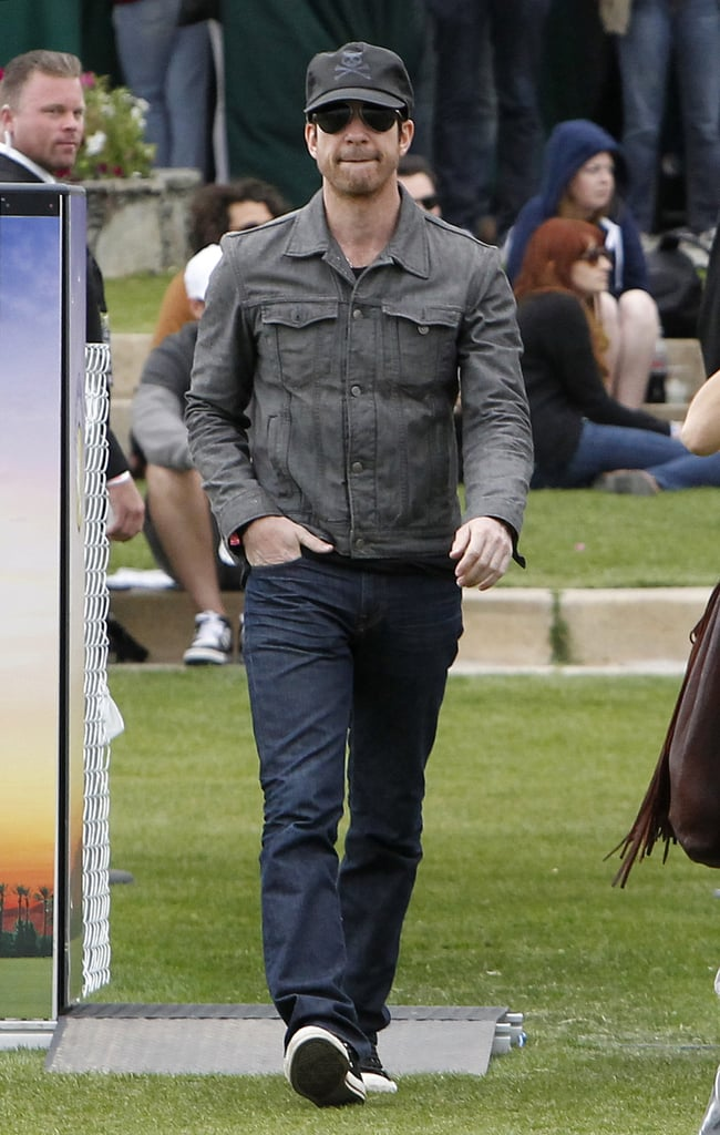 Dylan McDermott strolled into the grounds solo after hanging out with girlfriend Shasi Wells in the VIP section Friday.
